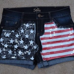 JUSTICE Red White Blue USA Sequin Short 16